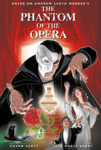 A man with his face half covered by a mask enchants a woman in a white dress, with a chandelier and a rose in the foreground