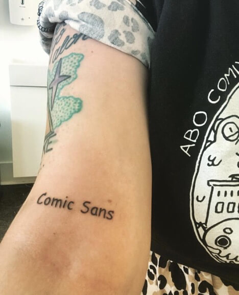 Rosie has the words comic sans in that font on her arm