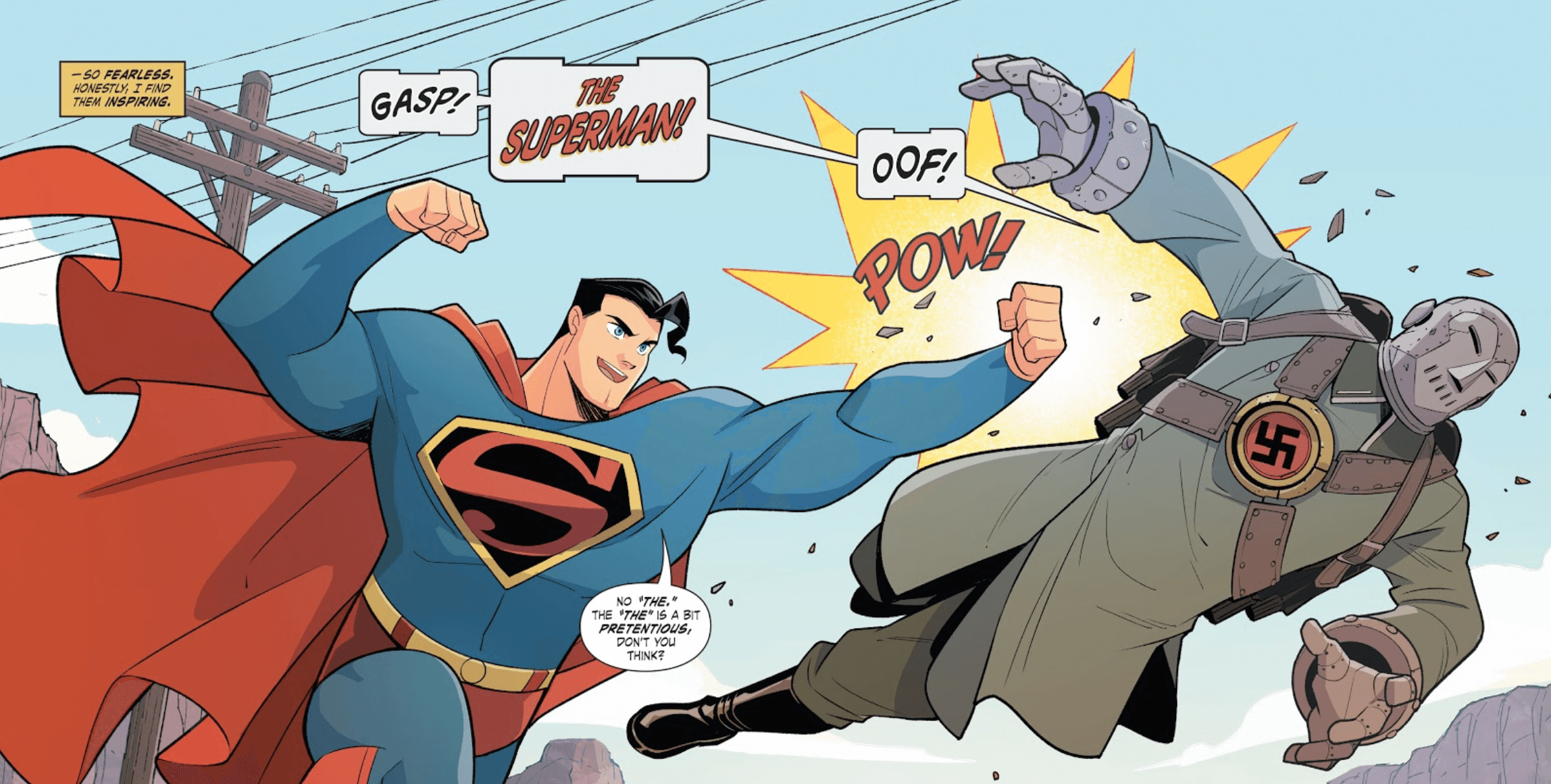 Superman punches Atom Man in Superman Smashes the Klan Part One by Gurihiru (artists), Gene Luen Yang (writer), and Janice Chiang (letterer)