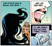 Susan notices the witch's red lips, The Problem of Susan, from the Problem of Susan and Other Stores, P. Crag Russel and Neil Gaiman, Dark Horse, 2019