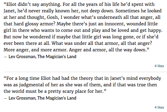 Quotations about Janet from The Magicians by Lev Grossman, transcribed on Goodreads