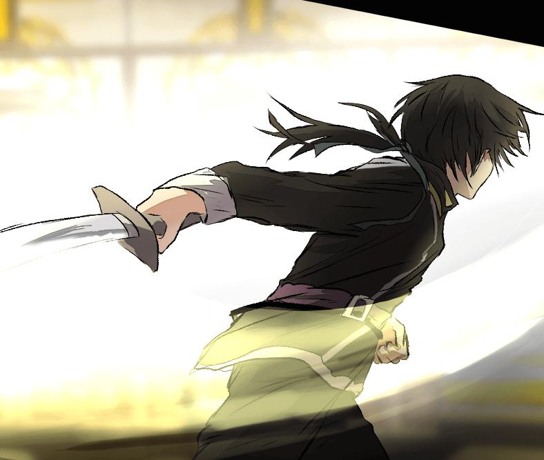 Deor practicing swordcraftm Deor by J.oori, Webtoon, 2019