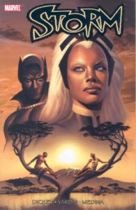 The heads of Storm and Black Panther are in the sky over a pair of people sitting in trees below