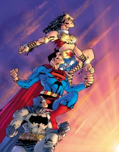 Cover for Superman: Year One #3 - Danny Miki (inks and cover), Frank Miller (writer), John Romita Jr. (pencils and cover), Alex Sinclair (colors and cover), John Workman (letters) - Superman, Batman, and Wonder Woman leaping