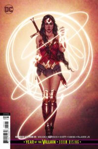Cover for Wonder Woman #81 - Pat Brosseau (letters), Tom Derenick (pencils), Romulo Fajardo Jr. (colors), Jenny Frison (variant cover), Scott Hanna (inks), Trevor Scott (inks), G. Willow Wilson (writer) - Wonder Woman encircled in her lasso