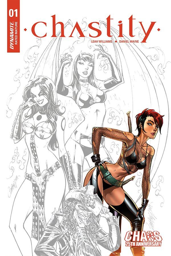 One of multiple versions of this cover by J. Scott Campbell, Chastity Jack poses in a frankly unnecessary position with sketches of other Dynamite characters.