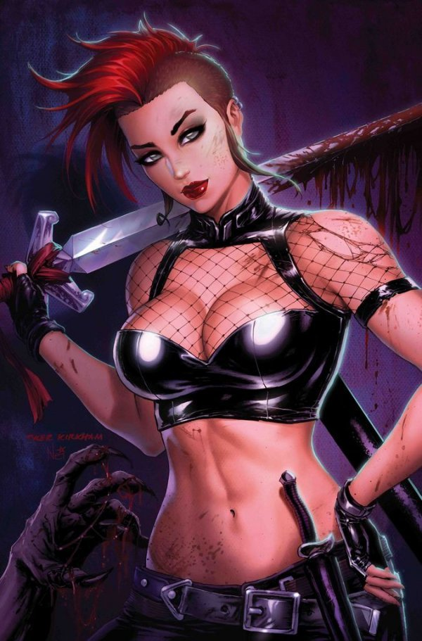 Chastity Jack shows off her costume in this variant cover by Tyler Kirkham.