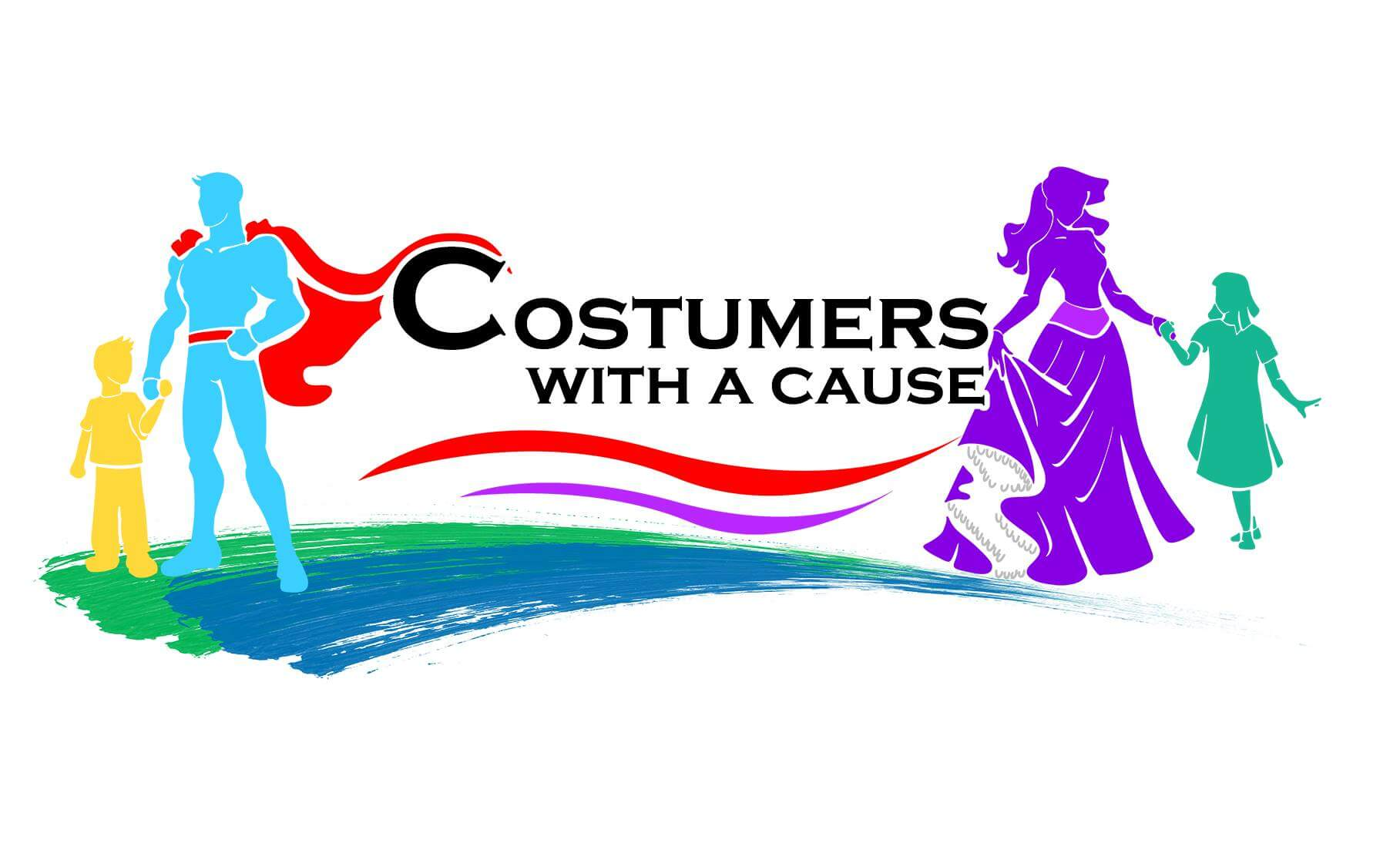 The logo for Costumers with a Cause shows superhero and pricness silhouettes interacting with children