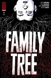 A young girl, head hanging over the top edge of the cover, has hair spilling out that looks like it turns into tree roots, growing over the text Family lTree.