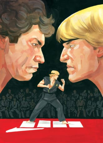 Cover of Cobra Kai issue #1 showing Johnny Lawrence and his teacher, Kreese, staring at each other. Below is Johnny standing at the ready at the All-Valley championship