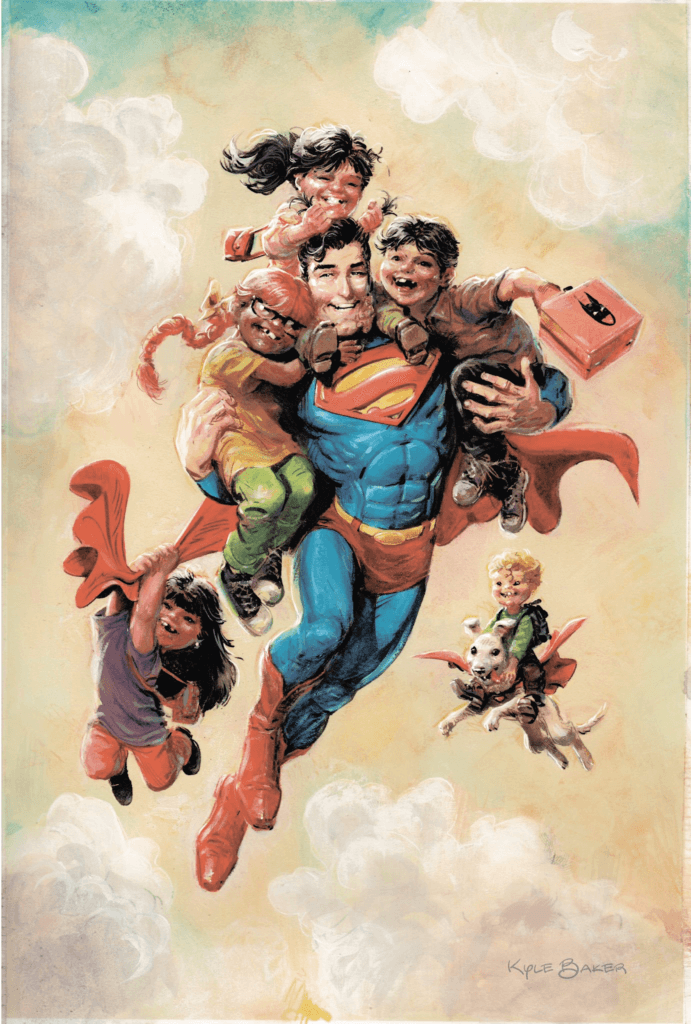Superman Smashes the Klan Part One variant cover by Kyle Baker depicting Superman flying with a group of children.