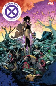 Moira X stands over the bodies of defeated X-Men on Silva and Gracia's cover to Powers of X #6
