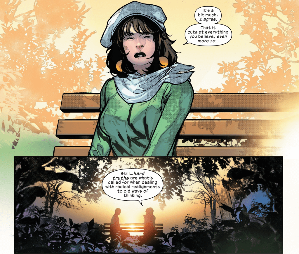 Moira X speaks to Charles Xavier about hard truths in this panel from Powers of X #6.