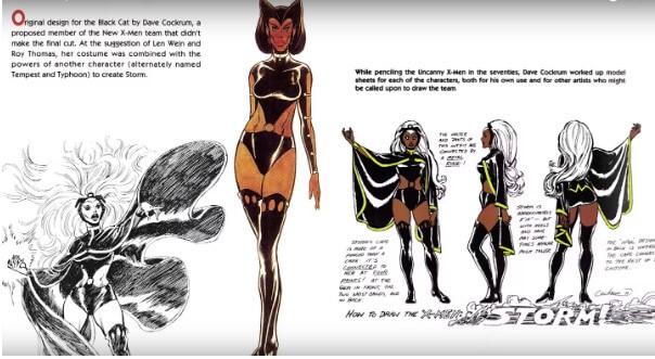 Original designs for Storm by David Cockrum, featuring the character Black Cat, from which she derived