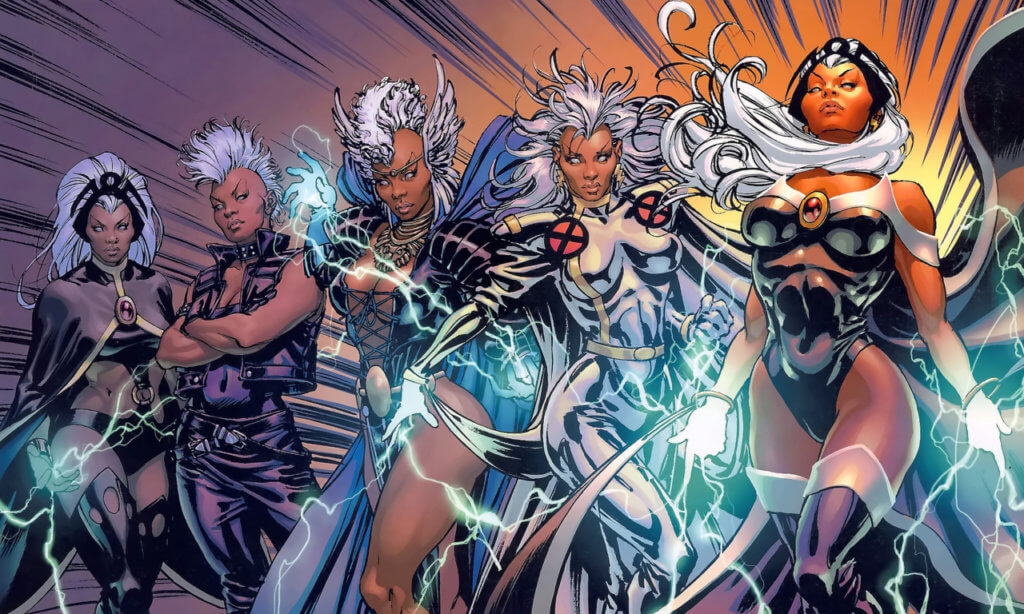 A series of Storms in her various costumes
