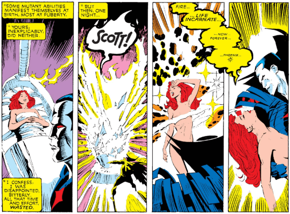 The clone of Jean Grey is seemingly struck by lighting and wakes from her slumber. She's caught in the arms of Mr. Sinister