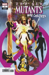 The original nine New Mutants, except Karma, pose around a large purple X-Men logo.