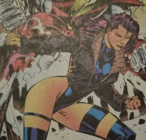 Psylocke wearing a bomber jacket over her bathing suit