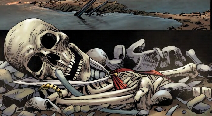 A skeleton lying on the ground dressed in Vampirella's costume
