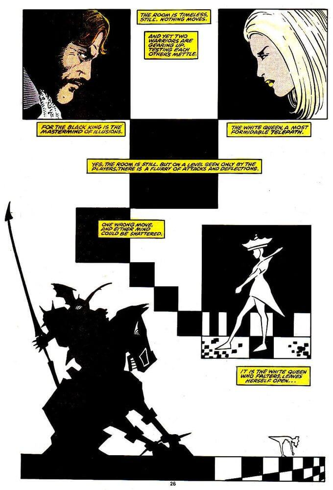 A psychic chess match between the Black King and White Queen of the Hellfire Club