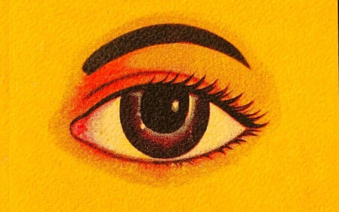 An eye on a yellow background