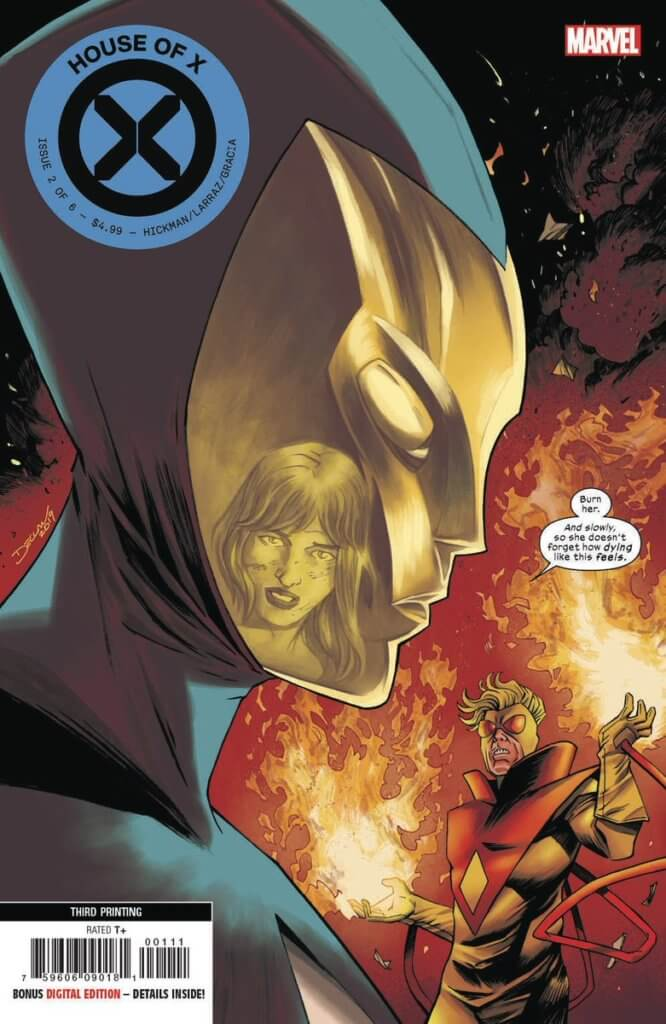Destiny in profile, her mask reflecting Moira's face, as she commands Pyro to burn Moira slowly