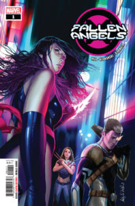 Cover for Fallen Angels #1 - Frank D'Armata (colors), Bryan Edward Hill (writing), Szymon Kudranski (artist), Tom Muller (design), Joe Sabino (letters) Marvel Comics November 13, 2019 - A woman looks over her shoulder at the viewer against a city backdrop of glowing red and blue