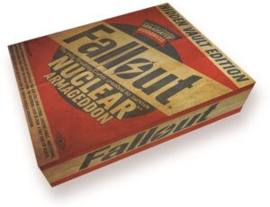 Picture of a mock-up of the box in which the Fallout: Nuclear Armageddon Cards will come in