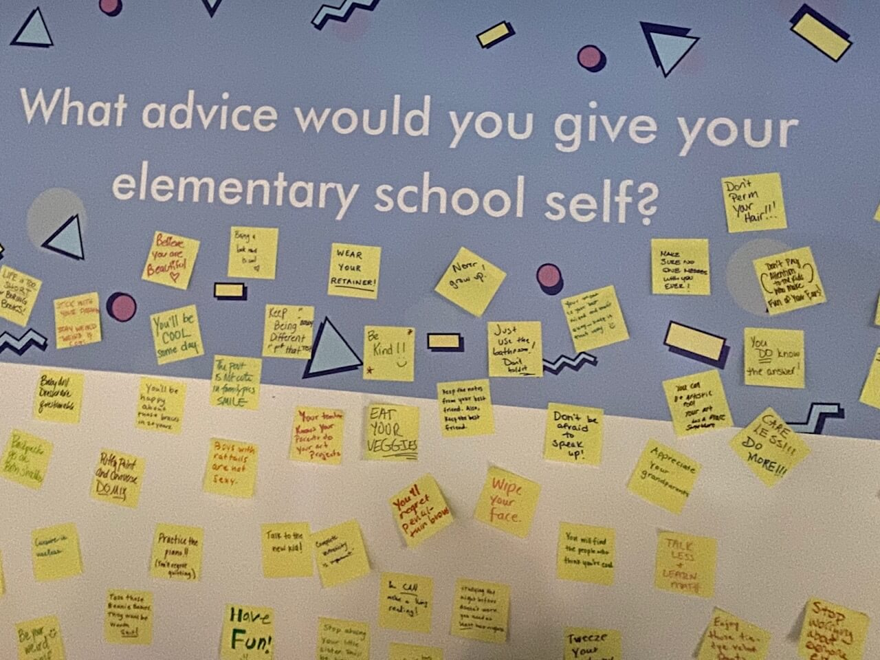 post its with advice adorn a question wall