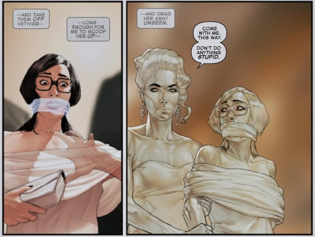 Panel from Invisible Woman #3, Marvel Comics, by Mattia de Iulis and Mark Waid