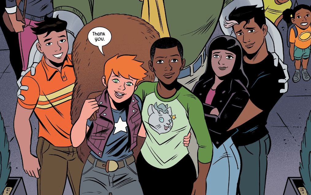 "Koi Boi, Squirrel Girl, Nancy, Mary, and Chipmunk Hunk all stand together, looking into the camera, while Squirrel Girl says ""Thank you."""