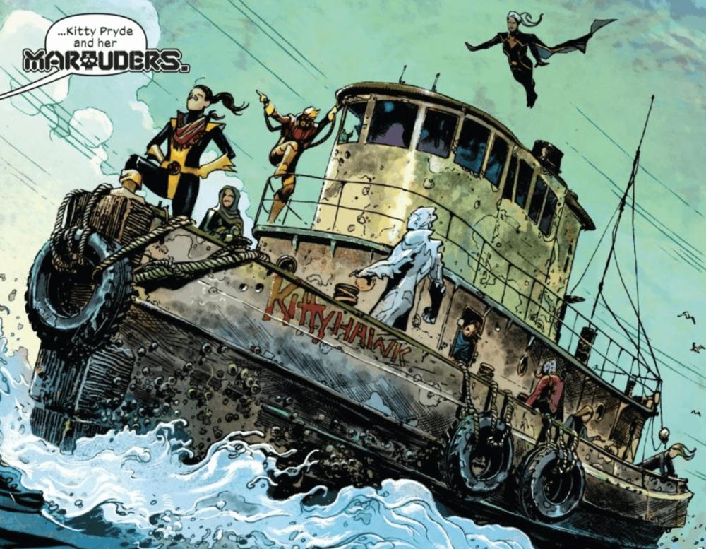 """The Marauders arrive on a boat renamed """"KittyHawk"""""""