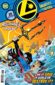 Superboy and the Legion drowning while holding Aquaman's trident