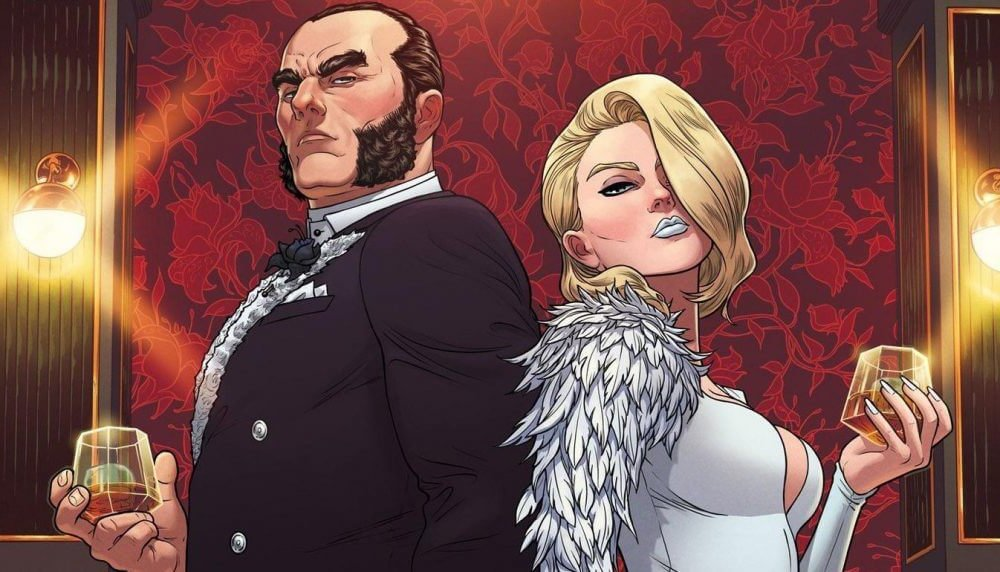Emma Frost and Sebastian Shaw stand back to back