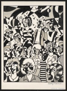 Black and white cubist-inspired art that depicts a party scene