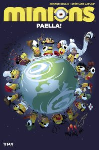 The Minions in various costumes, circling the globe on a dark blue background