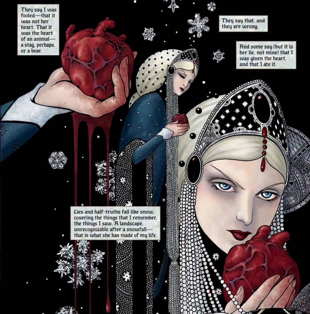 Panel art for Snow, Glass, Apples - Colleen Doran (artist), Neil Gaiman (writer), Val Trullinger (flatter) - Dark Horse Comics August 2019 - The queen with a beating red heart dripping blood in her hands