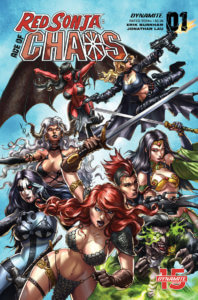 Red Sonja: Chaos Cover C2019 Dynamite - A large group of characters wielding various weapons in battle poses