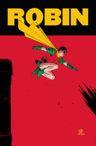 Robin leaping off a building
