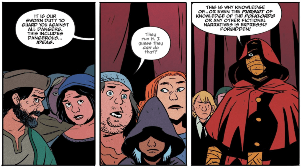 Panels from Folklords #1 by Jim Campbell (letterer), Matt Kindt (writer), Chris O'Halloran (colorist), and Matt Smith (artist) depicting background characters and a Librarian
