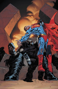 Darkseid holding an unconcious Superman