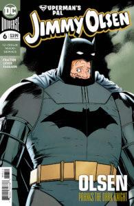 Jimmy hiding in Batman's Dark Knight Returns armor