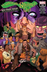 The cover of The Unbeatable Squirrel Girl #50, showing many of the comic's most beleoved characters in front of Galactus.