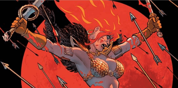 Red Sonja leaps downwards with arrows flying towards her