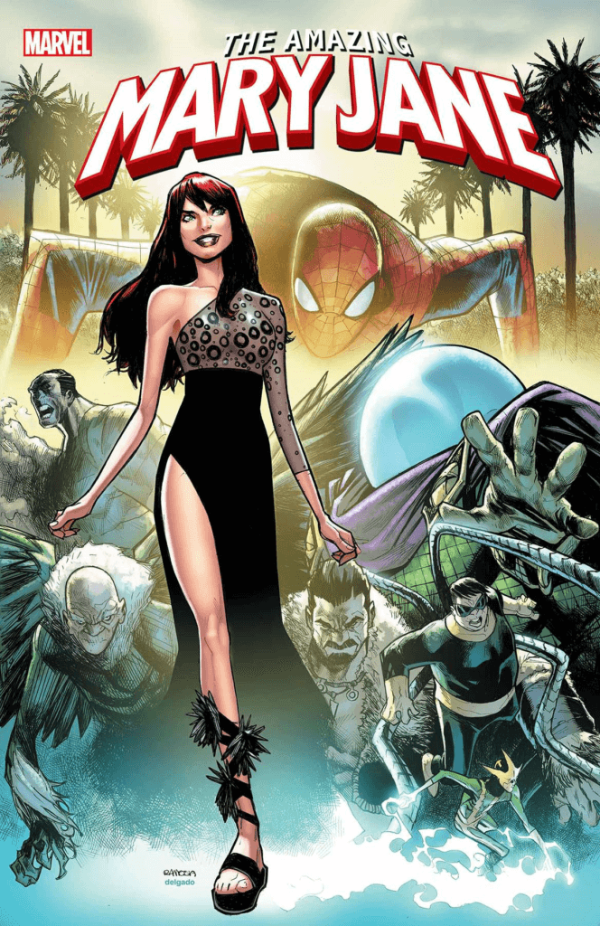 Mary Jane Watson struts her stuff in a black dresswith Spider-Man and several villains in the background