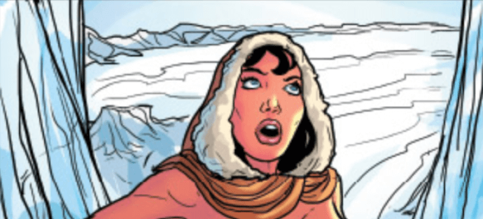 Something has frightened Dejah Thoris as she looks upward to see what it is