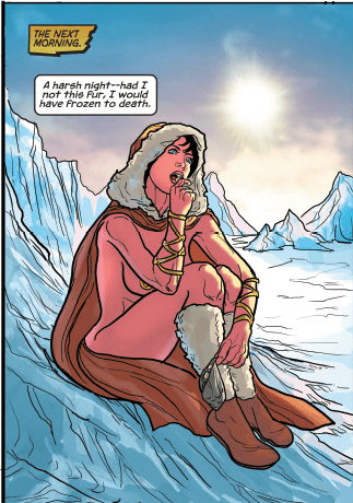 Dejah Thoris snacks in the snow. She's warm enough. Warlord of Mars: Dejah Thoris Volume 4: The Vampire Men of Saturn (Dynamite Comics, July 2013)