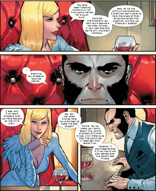 Emma Frost and Sebastian Shaw discuss business