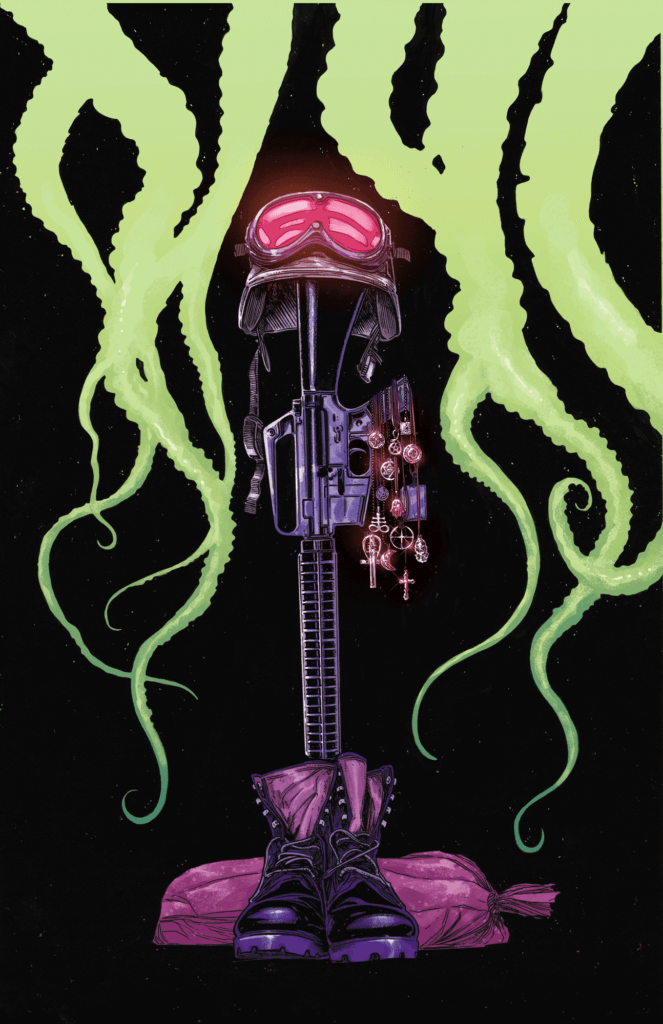 A gun props up a helmet and goggles, with boots resting at its base, against a dark background with tentacles silhouetted in green