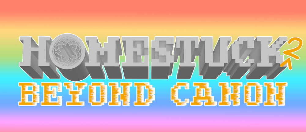 The logo for Homestuck^2: Beyond Canon against a rainbow background